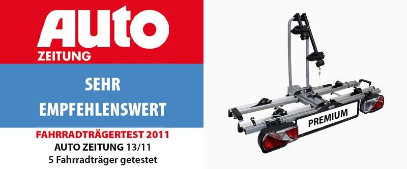 """Fahrradträgertest 2011 der Zeitschrift Auto Zeitung, Testergebnis """"Sehr empfehlenswert"""""""
