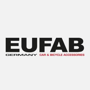 EUFAB Logo, schwarze und rote Schrift auf weißem Grund