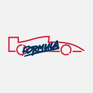 Formula Tönungsfolien Logo. Rote Silhouette es Rennwagens mit schwarzer Schrift darüber