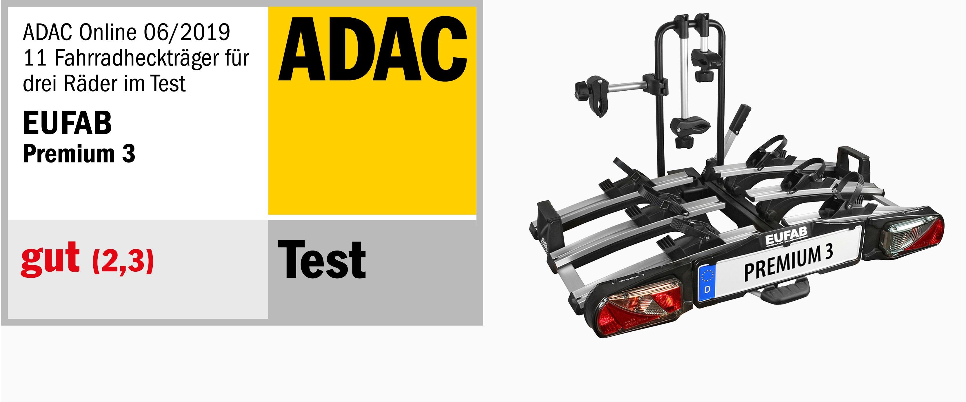ADAS Test Online 06/2019 für Fahrradheckträger für drei Räder, Note gut (2,3)